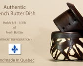 Reserved for Darlene.  NEW FIRING! Black and white handmade Authentic French Butter Dish, Beurrier Breton, French Butter Keeper