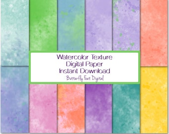 Watercolor Digital Paper, Paint Splash Texture Paper, 12 Printable Designs, Scrapbooking, Card Making, Instant Download