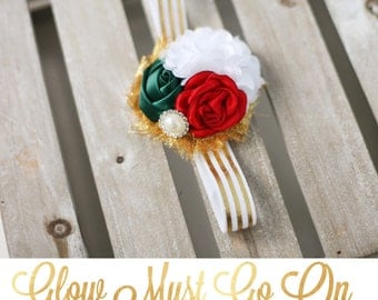 Glow Must Go On - red green gold Christmas satin rose rosette tulle chiffon flower headband bow