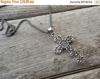 ON SALE Medieval cross handmade in sterling silver