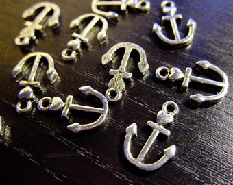 Destash (8) Small Anchor with Heart silverplated charm - for pendants, jewelry making, crafts, scrapbooking