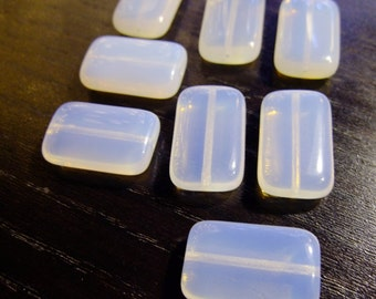 Destash (8) Opalescent Glass AB Beads - for pendants, jewelry making, crafts, scrapbooking