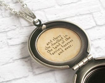 Fairy House Locket Necklace Antique Silver Quote Pendant Celtic Woodland Jewelry She Dwelled in the Land of the Faeries Forever and Ever