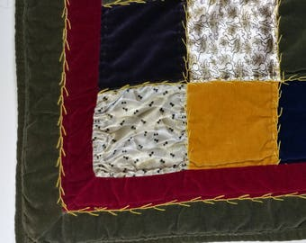 Vtg 51 x 60 Hand Quilted Velvet & Satin Print Lap Quilt Multi Color Patchwork Fabric Squares Colorful Country Cottage Shabby Chic Room Decor