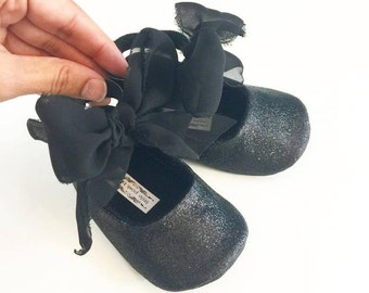 Toddler Girl Shoes Baby Girl Shoes Black Glitter shoes Soft Soled Shoes Glitter Shoes Rose Pink, Gold, Champagne Shoes  - Esme