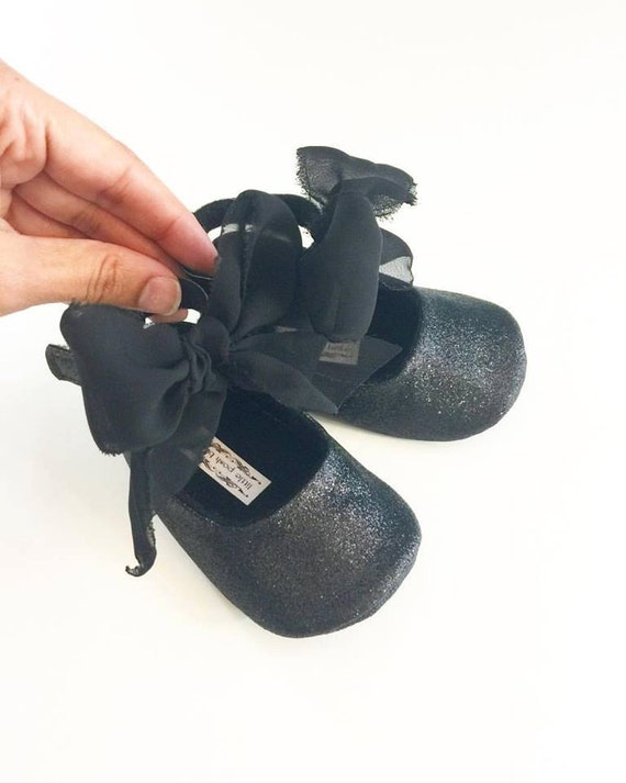 Toddler Girl Shoes Baby Girl Shoes Black Glitter shoes Soft
