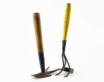 Vintage Garden Tools, Garden Hoe, Rustic Garden Decor, Weeding Tools, Garden Tool Set
