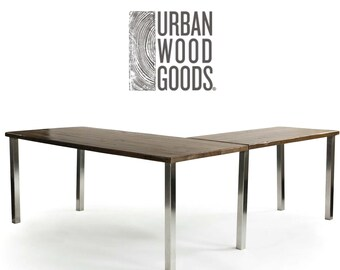 Urban Harvest Wood L Desk, work station. Custom and handmade.  Choose leg style and wood finish.