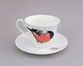 Bullfinch and Victoria Sponge Cake Tea Cup and Saucer