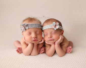 Baby Headband, Aqua, Blush Pink and Gray Headband, Newborn Headband, Baby Girl Photo Prop,Newborn Props, RTS, Baby Props, Organic Cotton