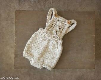 Newborn Romper, Cream Off White Romper, Baby Boy Overalls, Baby Romper, Newborn Props, Baby Props, Baby Pants, Prop Romper, Shorts RTS Props