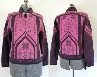 Obermeyer Wool Ski Sweater Ladies Medium Winter Weather Pullover Outerwear Pink and Purple