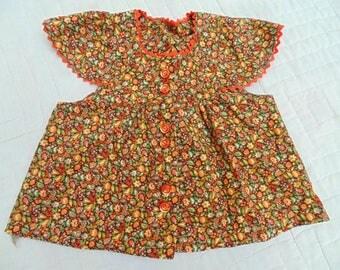 Little Girls Jumper. Little Girls Dress. Print Jumper. Autumn Dress. Fall Dress. Vintage 1970s. Size 2. Photo Shoot. Photo Prop. hand sewn