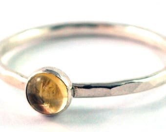 SALE Size 6 1/4 ONLY Citrine Cabochon Sterling Silver Stacking Ring
