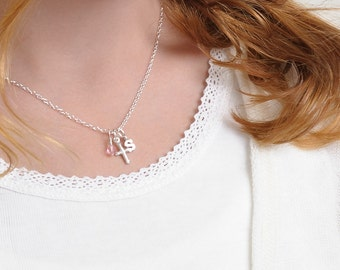 Childs Cross Necklace, First Communion gift, girls sterling silver jewelry, birthstone baptism, christening gift goddaughter niece SUSANNE