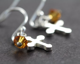 Confirmation Gifts for Girls, Cross Earrings with Birthstone Crystals, 925 Sterling Silver