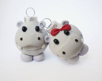 Mini Hippo Christmas Ornaments