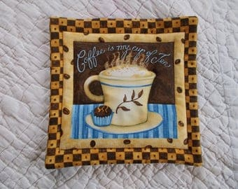 Coffee is my cup of Tea Quilted Hot Pad /Pot Holder/mini quilt