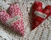 Primitive Stitchery 2 Heart Valentine Pillow Tucks ~ OFG