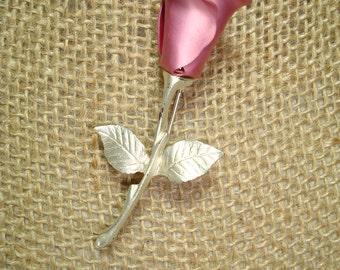 Vintage AVON Hot Pink Rose Bud Pin.
