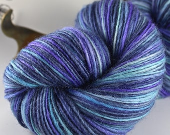 Handspun Yarn Gently Thick and Thin Fine Sport Single Blue Faced Leicester Sweet Georgia 'Oyster Bay'