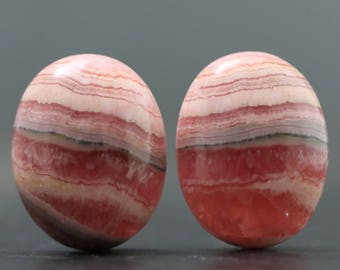 Beautiful Pair Pink Rhodochroiste Natural Gem Cabochon Stone Wire Wrapping Stone Emotional Aid Joy and Love Jewelry Lesson, Tutorial (20784)