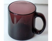 MOVING SALE Vintage Purple Glass Coffee Mug, Smooth Heavy Translucent Cup, Vintage Drinkware, Made in USA