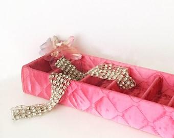 Vintage Dresser Drawer Organizer Hot Pink Satin Vanity Display Box