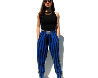Blue and black striped tapered sports pants 1990s 90s VINTAGE