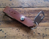 Personalized Leather Key Chain, Bottle Opener, Leather Loop Keychain, Leather Key Ring, Gift For Him, 3rd Anniversary, Husband Gift
