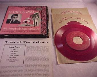 Mario Lanza 45 rpm Vinyl Record Album 4 Records with Cardboard Picture Box