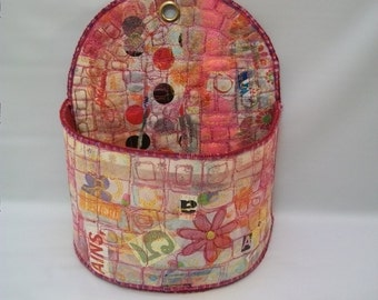 Handmade Mix Media Wall Caddy, Wall Pocket, Quilted Paper Cloth Art, Hanging Bin, Mail Holder, Decorative Wall Storage, Large Wall Pocket