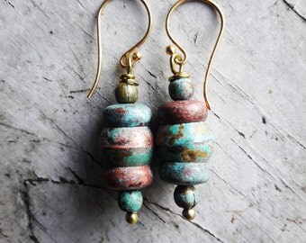 Blue Turquoise and Copper Metal Earrings