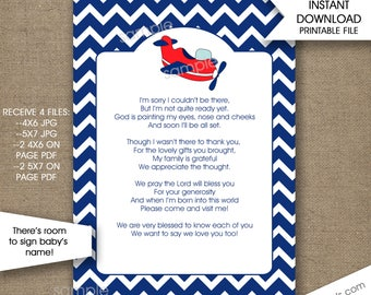 Airplane Baby Shower Thank You Notes with poem, INSTANT download, boy baby shower thank you card, plane baby shower theme, 5x7 4x6