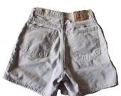 60% off sale // Vintage 90s ZENA High Waist Denim Shorts - Women Medium - light khaki color