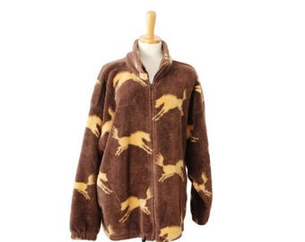 60% off sale // Vintage 90s WILD HORSES Brown Fleece Jacket - Made in America - Women XL, Twin Peaks, rustic, ranch style
