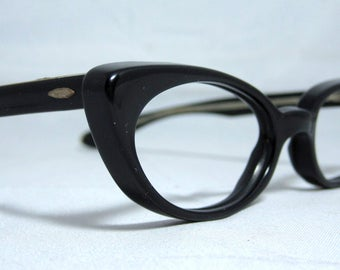 Vintage Cat Eye Glasses. Small Black Cat Eye Frames.