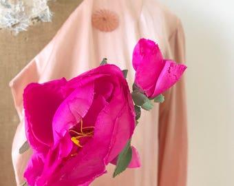 Vintage millinery flowers/Magenta color/Hot pink