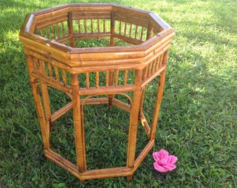 "RATTAN BAMBOO BRIGHTON TABLe Base / 30"" tall x 24"" diameter Bamboo Dining Table Base / Octagon Bamboo Dining Table Base Retro Daisy Girl"