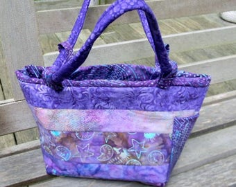 Medium Purple Strip-Pieced Batik Handbag/Shoulder Bag OOAK