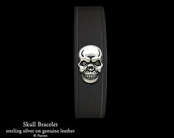 Skull Leather Bracelet Sterling Silver Skull on Leather Bracelet