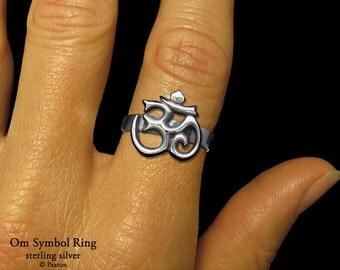 OM Symbol Ring Sterling Silver Aum Ohm Yoga Meditation Ring