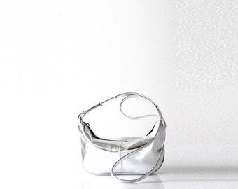 Pebbled leather sling bag OPELLE Micro Roberta Sling mini hobo handbag Silver Metal