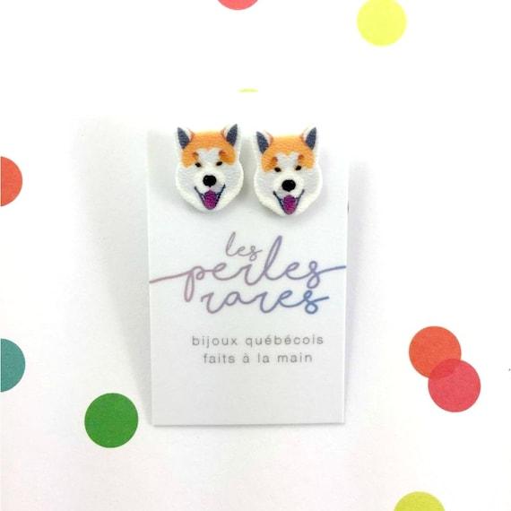 shiba inu dog,  shiba inu, shibainu dog earring, dog,  hypoallergenic, plastic, stainless stud, handmade, les perles rares