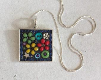 Mosaic Pendant, Micro Mosaic, Flower Pendant, Camilla Klein, SquarePendant, Beaded Pendant, Handmade in US, Teacher Gift, primary colors