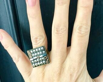 Mosaic Ring, Micro mosaic Ring, Mosaic Cocktail Ring, Silver Statement Ring, Two tone cocktail ring, Square Mosaic Ring, Camilla Klein, Ring