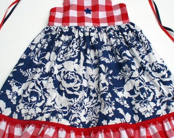 Size 5T Ready to Ship,Girls Patriotic Dress,GIrls 4th of July Dress,Girls Fourth of July,Memorial Day Dress, Persnickety,Blue, Red,Floral