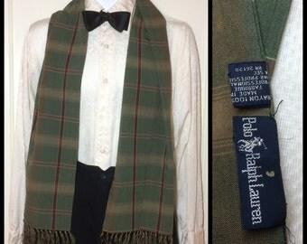 Vintage 1980's Rayon Olive Green Burgundy Plaid long fringe Opera scarf 57x11 Ralph Lauren Polo made in Japan Ascot Cravat Opera