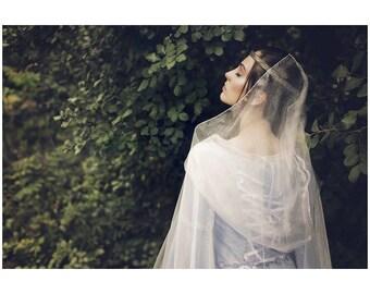 Organza cloak fantasy medieval renaissance, cape,  sheer fabric, wedding, custom made