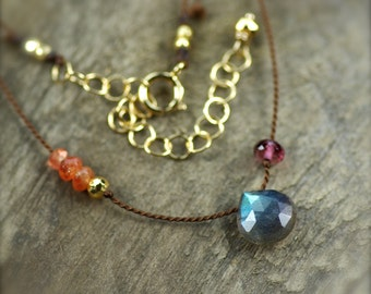 Labradorite, Rubellite Garnet, Sunstone, and Golden Pyrite Gemstone Necklace. Simple Silk Necklace. Hand Knotted Silk Necklace.